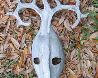 one of a kind, tribal, Silver and grey, Masquerade warrior white and silver Antler horns mask, hand sculpted ooak costume mask
