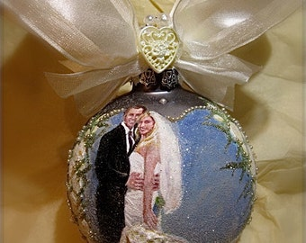 Wedding Day Hand Painted Glass Ornament