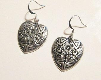 Silver Floral Heart Dangle Earrings