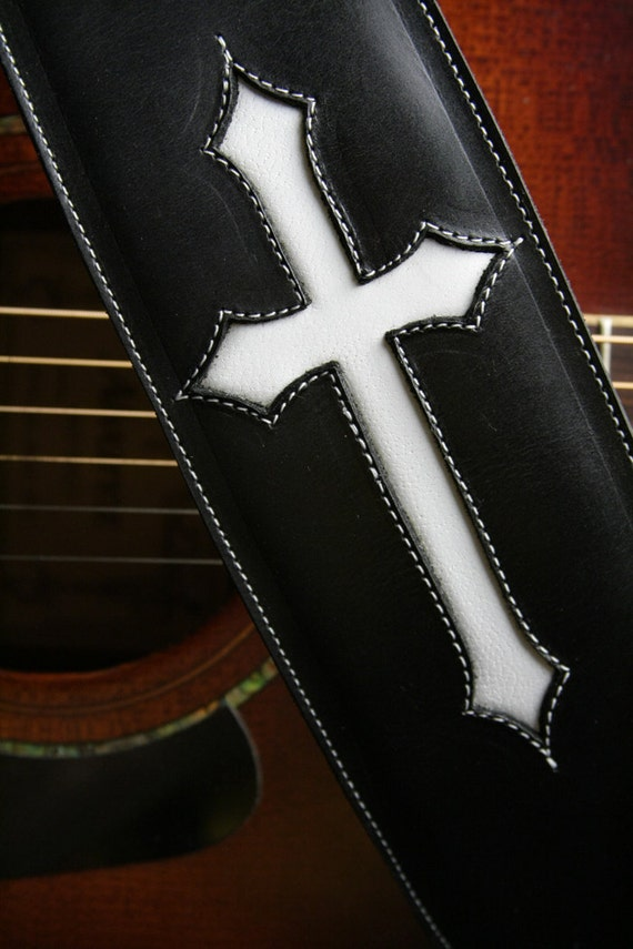 guitar strap black leather guitar strap with by ethoscustombrands. Black Bedroom Furniture Sets. Home Design Ideas