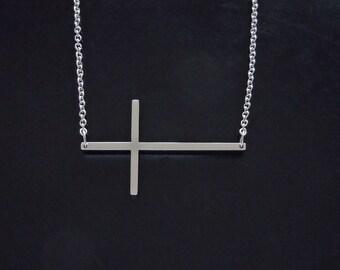 Sideways Cross Necklace - XL Gold or Silver