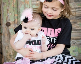 Personalized Custom Big Sister/Little Sister Shirt, 4 Pc Set - 2 shirts with 2 matching headbands, Sibling Shirt, Toddler Youth Infant Sizes