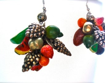 Vintage Early 90s Dangle Earrings Fruit Colorful Silver Funky Unique 1990s