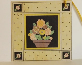 Vintage  Art Deco bridge tally card vibrant flower pot