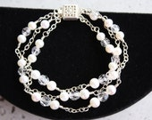 PEARL CRYSTAL BRACELET for the Bride,  Three Strands on Sterling Chain with Swarovski Crystals and Freshwater Pearls