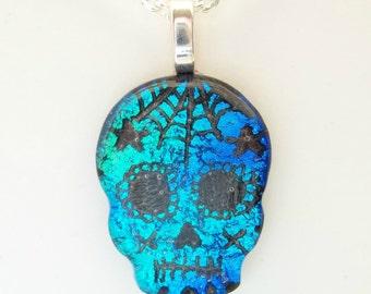 Multi Blues Day of the Dead Sugar Skull Fused Dichroic Glass Pendant