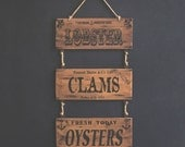 Coastal Wall Art Decoration - Lobster Clams Oysters Signs