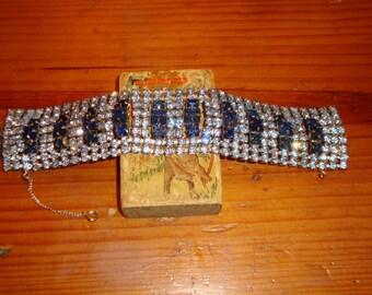 Amazing 8-Row KRAMER SAPPHIRE & Powder Blue Vintage DOMED, Multi-Level, Wide Rhinestone Bracelet - Never Worn