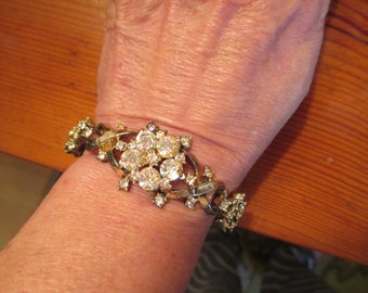 OOAK Utterly Magnificent Art Deco DOMED Clear & AB Rhinestone Silver Plate-Setting 1930's Vintage Bracelet - Rare