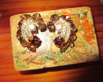 MINT Lavish WEISS Signed TOPAZ & Clear Austrian Crystal Rhinestone Vintage Earrings - Gorgeous