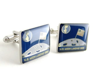 SALE Moon Landing NASA Cufflinks — Space Exploration Commemorative Cufflinks Collection