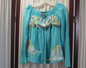 Reconstructed Recycled EcoFriendly Girls' LS Turquoise Smock Top Size S with Indian Cotton Turquoise Multi