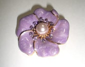 Vintage Enamel Iridescent Purple Brooch Pin with Faux Pearl Center and Purple Rhinestones