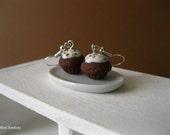 Mini chocolate cupcake with sprinkles earrings - chocolate and sprinkles cupcake earrings