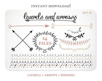 Arrow Clip Art | Laurel Clip Art |  Arrow Clipart | Digital Clip Art | Tribal Clip Art