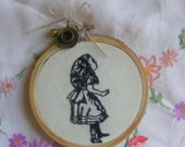 """Hand embroidery Alice through the looking glass collection """".Blackwork Alice in wonderland"""