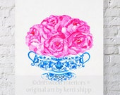 Pink Floral Watercolor - Bouquet in Flow Blue 11x14 - Blue and White Art Print - Blue and White China Art