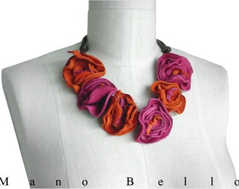 Boho Necklace Colorful Leather Flower Necklace Leather Flower Statement Necklace Nectarine & Pink in stock