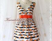 Last Piece SALE - Miss Floral - Stripes Floral Print Summer Dress V Neck Tangerine Roses Dress Bridesmaid Wedding Party Tea Dress