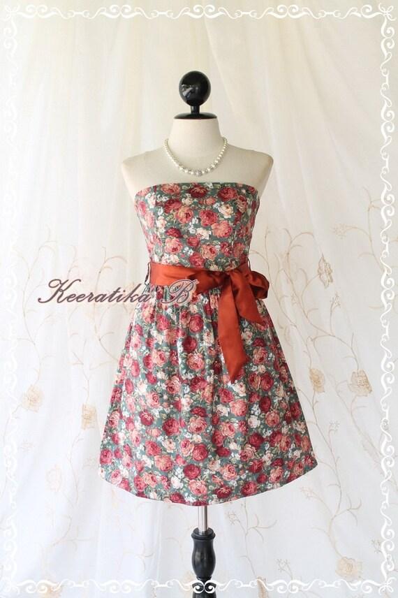 SALE - Mind - Sweet Cutie Floral Strapless Dress Spring Summer Sundress Party Bridesmaid Prom Wedding Dress