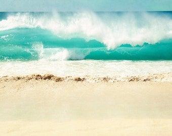 Beach Photo - Fine Art Photography,  ocean, sea, seascape, landscape, aqua, teal, beach, beige, coastal wall art, seashore, print, art