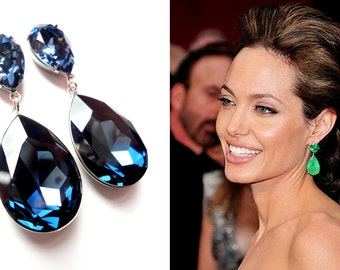 ON SALE Angelina Jolie's Inspired Extra Large Montana Blue Swarovski Crystal Post Earrings