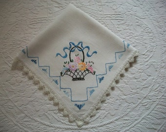Vintage Embroidered Tablecloth...Basket of flowers