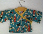 Newborn Baby Kimono in Alexander Henry's Kitty Kokeshi Fabric - Newborn to 12 months
