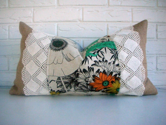 Cottage Chic Throw Pillow Cover - Burlap and Lace Floral Pillow with Vintage Lace - Brown Aqua Orange 14 x24