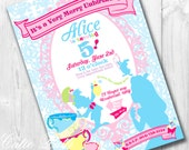 Alice in Wonderland Party Invitations, Printable Custom Invitations by Cutie Putti Paperie