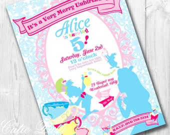 Alice in Wonderland Invitation | Wonderland Invite | Mad Hatter Invite | Tea Party Invite | Alice Invitations | Onderland Invite