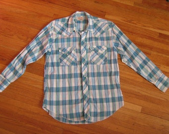 50s Mens Western Shirt TEM TEX Blue Plaid Vintage small medium Cowboy Rockabilly VLV