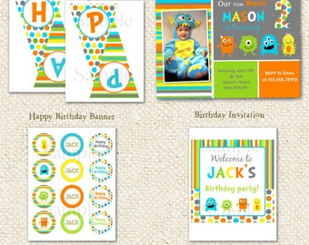 Monster  DIY Printable Birthday Party Package