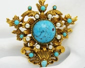 Vintage Florenza Brooch Victorian Style Faux Marble and Pearls
