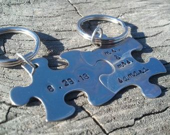 Husband and Wife Wedding Gift..Couples Custom Puzzle Piece Key Chains..interlocking pair..hand stamped key chains..couples key chains