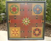 Primitive Wood Parcheesi Game Board Folk Art Gameboard