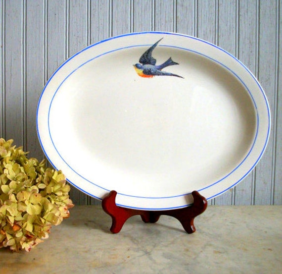 Vintage Blue Bird of Happiness Platter