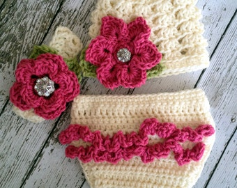 Ashlee Beanie, Headband & Diaper Cover Set in Ecru, Hot Pink and Celery Green Available in Newborn to 24 Months- MADE TO ORDER