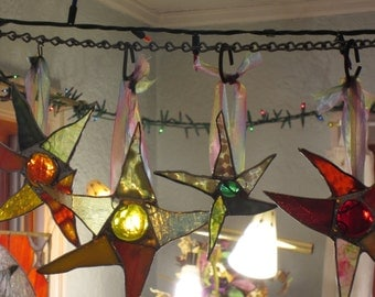 6 Stained Glass SASSY STARS ornaments