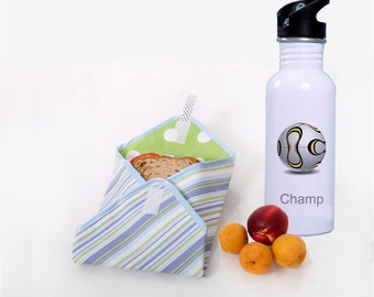 Water Bottle-Stainless Steel  20 oz with a Reusable Sandwich Wrap Blue stripes Personalized