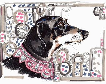 Lacey The Dachshund - 8 x 11 inch Giclee Print - Dachshund Illustration