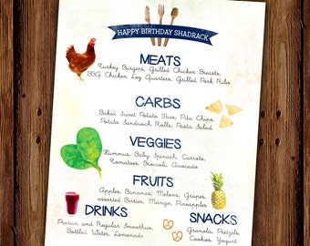 Watercolor Menu - Fruits and Veggies, PRINTABLE
