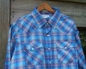 On Sale Vintage J.J. Cochran Blue Western Shirt White Pearl Snap Buttons Men Fashion Long Sleeve EXTRA Large