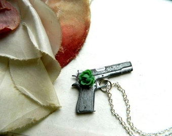 Gun Necklace Vintage Repurposed Country Chic Rose One of A Kind