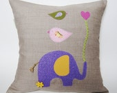 Children's Organic Linen Pillow Cover/ Elephant with Birds/ Good to Have a Strong Friend/ Purple Pink Green Yellow/ Made To Order