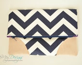 Fold Over Clutch - Navy Chevron