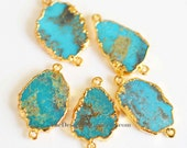 Natural TURQUOISE Slice Edged in 24k Gold Connector
