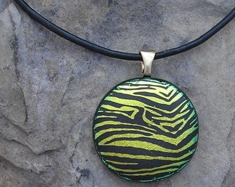 Gold Zebra Pendant Fused Dichroic Glass Zebra Necklace