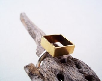 Gold Square Ring. Brass Box on Sterling Silver Ring. Modern Geometric Jewelry. Size 6.5