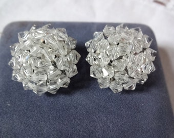 Round Button Style Vintage Crystal Clip Earrings